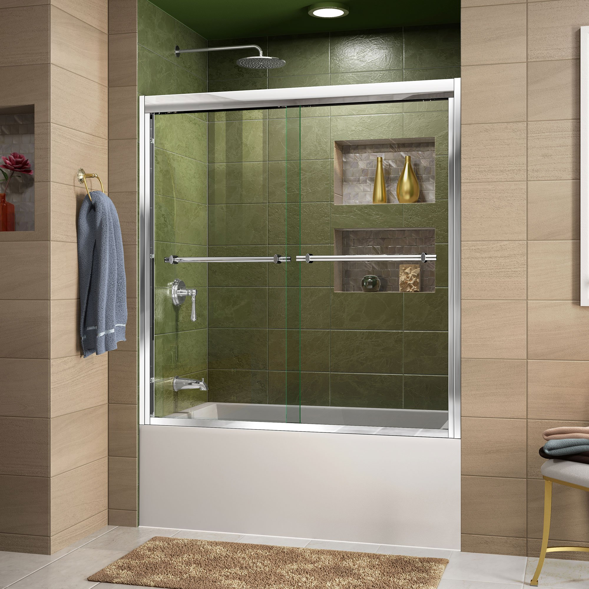 DreamLine Duet 56-59 in. Width, Frameless Bypass Sliding Tub Door, 5/16'' Glass, Chrome Finish by DreamLine