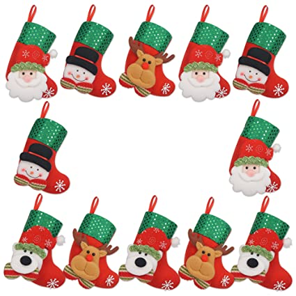 limbridge 12pcs mini christmas stockings gift treat bag for favors and decorating - Christmas Socks Decoration