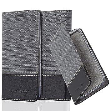 Cadorabo Hülle für Sony Xperia Z2 COMPACT - Hülle in GRAU SCHWARZ – Handyhülle mit Standfunktion und Kartenfach im Stoff Desi