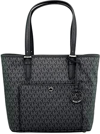 aff6e29a48b2cd Amazon.com: Michael Kors Jet Set Signature Tote, Black: Michael Kors ...