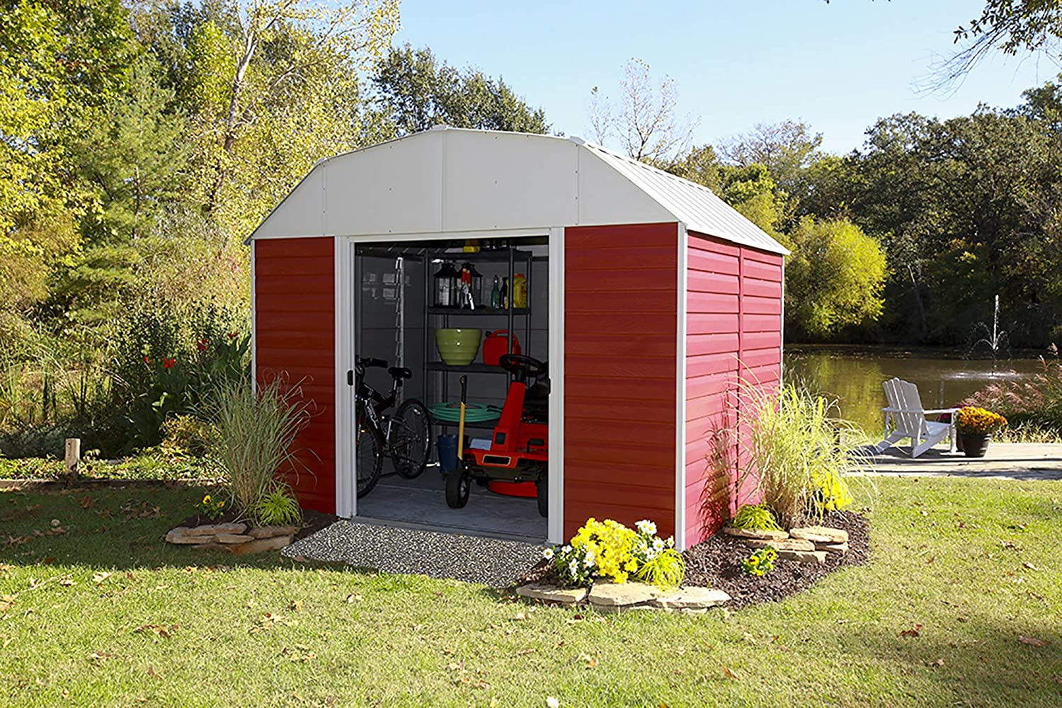 Amazon.com : Arrow RH108 Red Barn 10-Feet by 8-Feet Steel Storage Shed : Garden & Outdoor