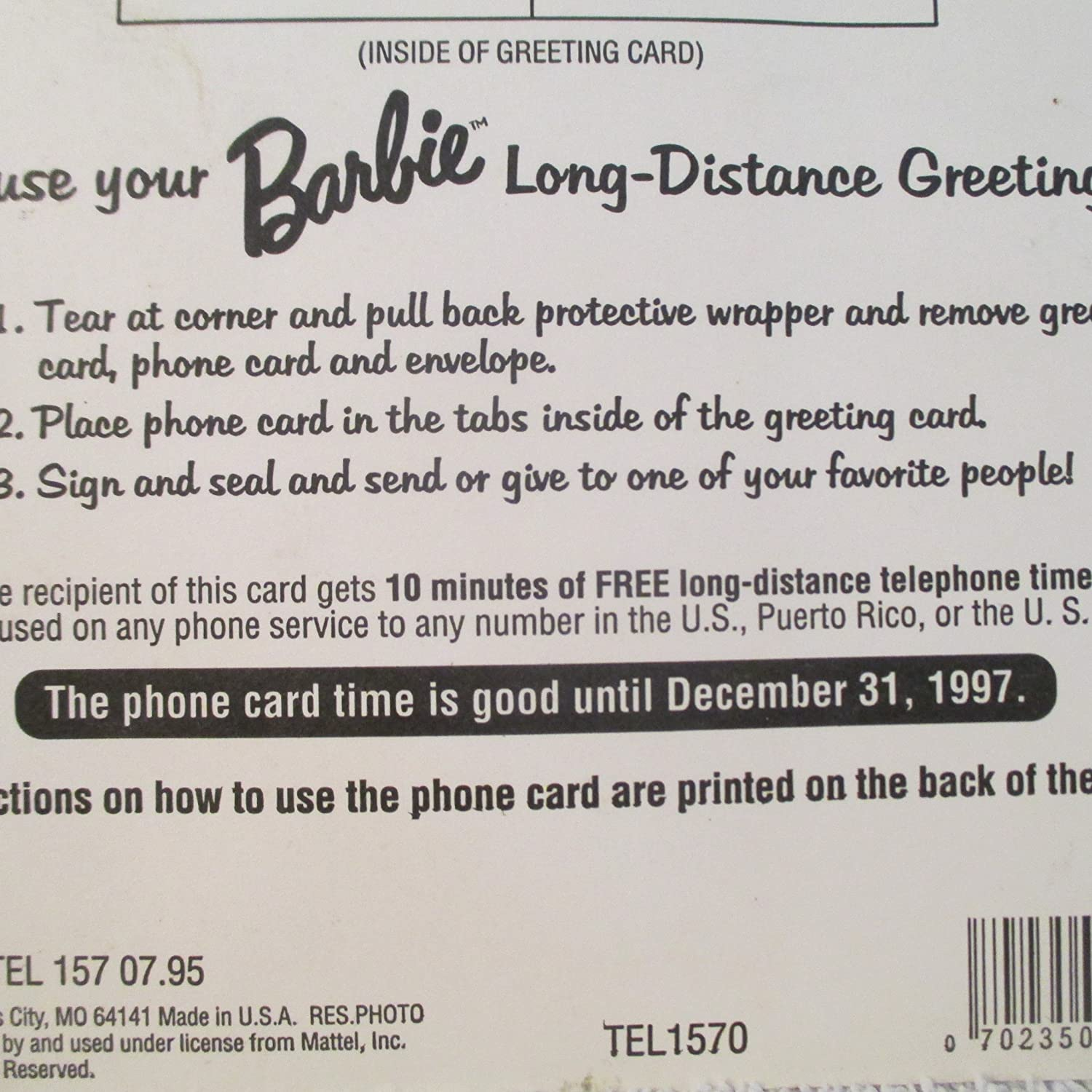 Amazon 1995 Barbie Sealed Blister Card Of Barbie Greetings