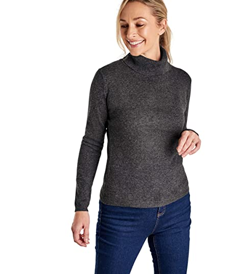 716a65d86 Woolovers Ladies Cashmere and Merino Fitted Polo Neck Knitted Sweater Dark  Charcoal, L: Amazon.co.uk: Clothing