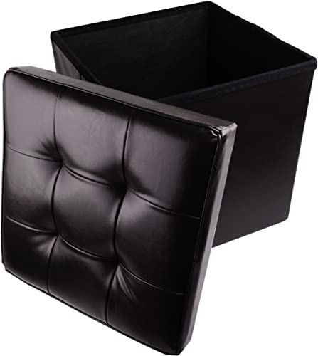 Red Co. Faux Leather Folding Cube Storage Ottoman