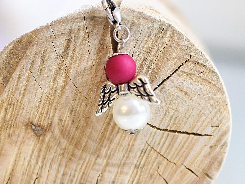 Engel aus Perlen pink Gastgeschenk Glü cksbringer Hochzeit Kommunion Konfirmation Taufe Tischkarte Schutzengel silber