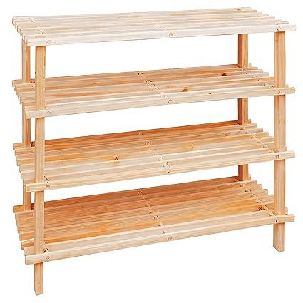 selezionare per lo spazio ufficiale più votato cerca ufficiale Premier Housewares Rastrelliera per scarpe in legno a 4 livelli, 68 x 74 x  26 cm