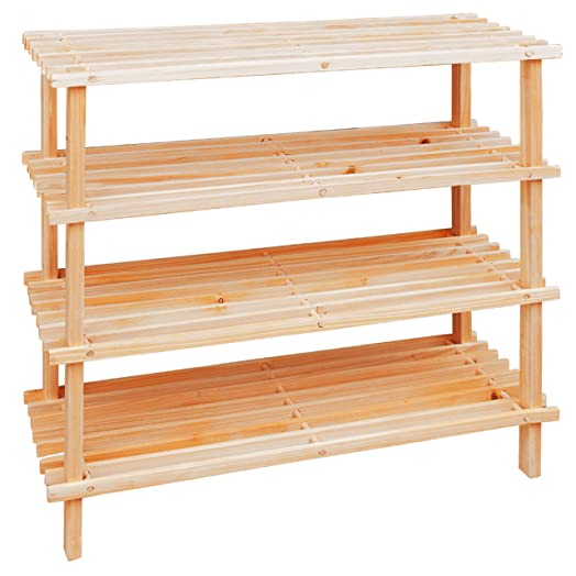 Premier Housewares 4 Tier Slatted Wooden Shoe Rack Beige