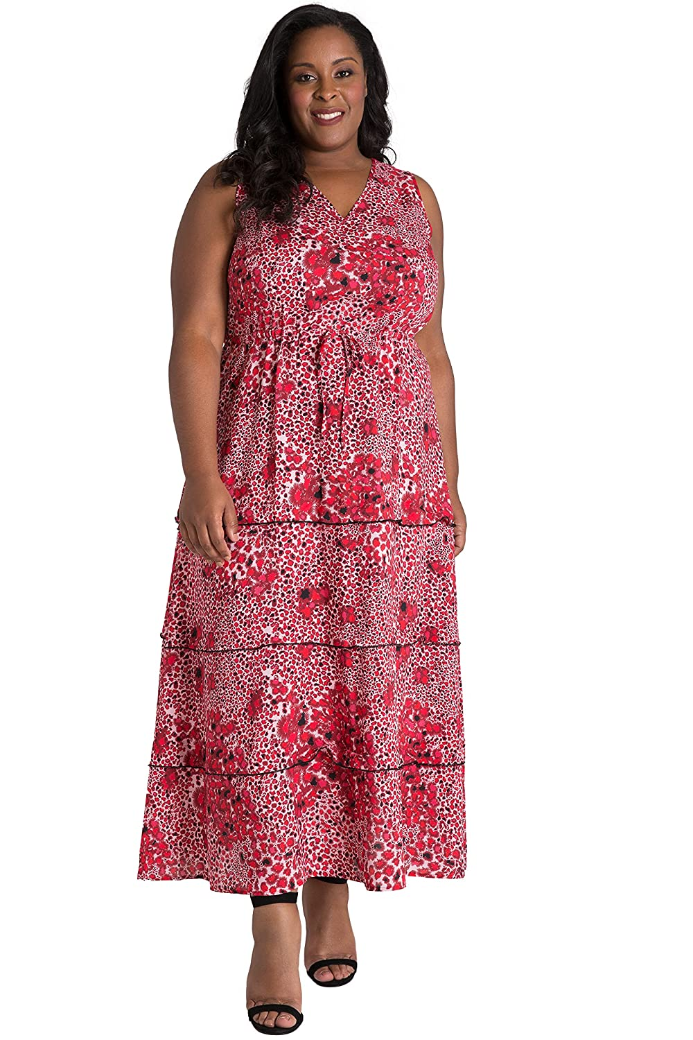 a795c635df6 This v-neck maxi dress features a gorgeous bohemian tiered skirt and  drawstring waist for a flattering silhouette. The dress is a monochromatic  abrstract ...