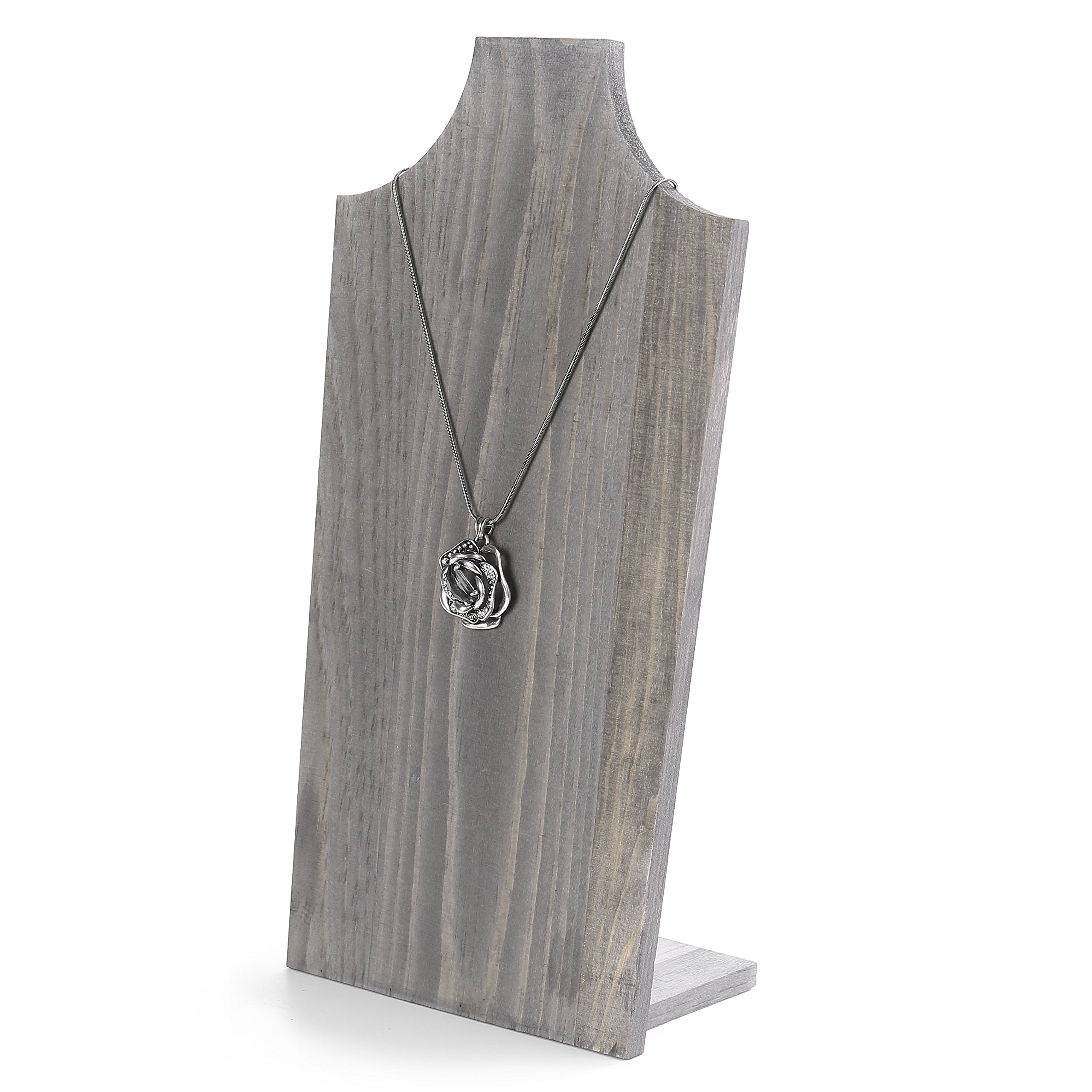 MyGift Rustic Barnwood Gray Free-Standing Necklace Easel Display Stand Holder