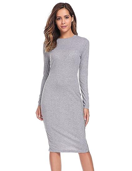 ELESOL Women Solid O-Neck Side Hem Zipper Long Sleeve Knit Sheath Bodycon Dress
