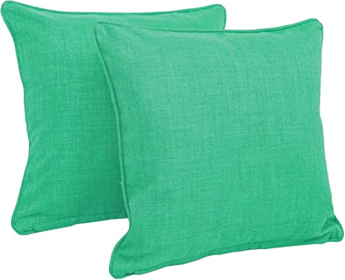 Blazing Needles Double-Corded Solid Outdoor Spun Polyester Square Throw Pillows with Inserts Set, Set of 2, 18 , Emerald
