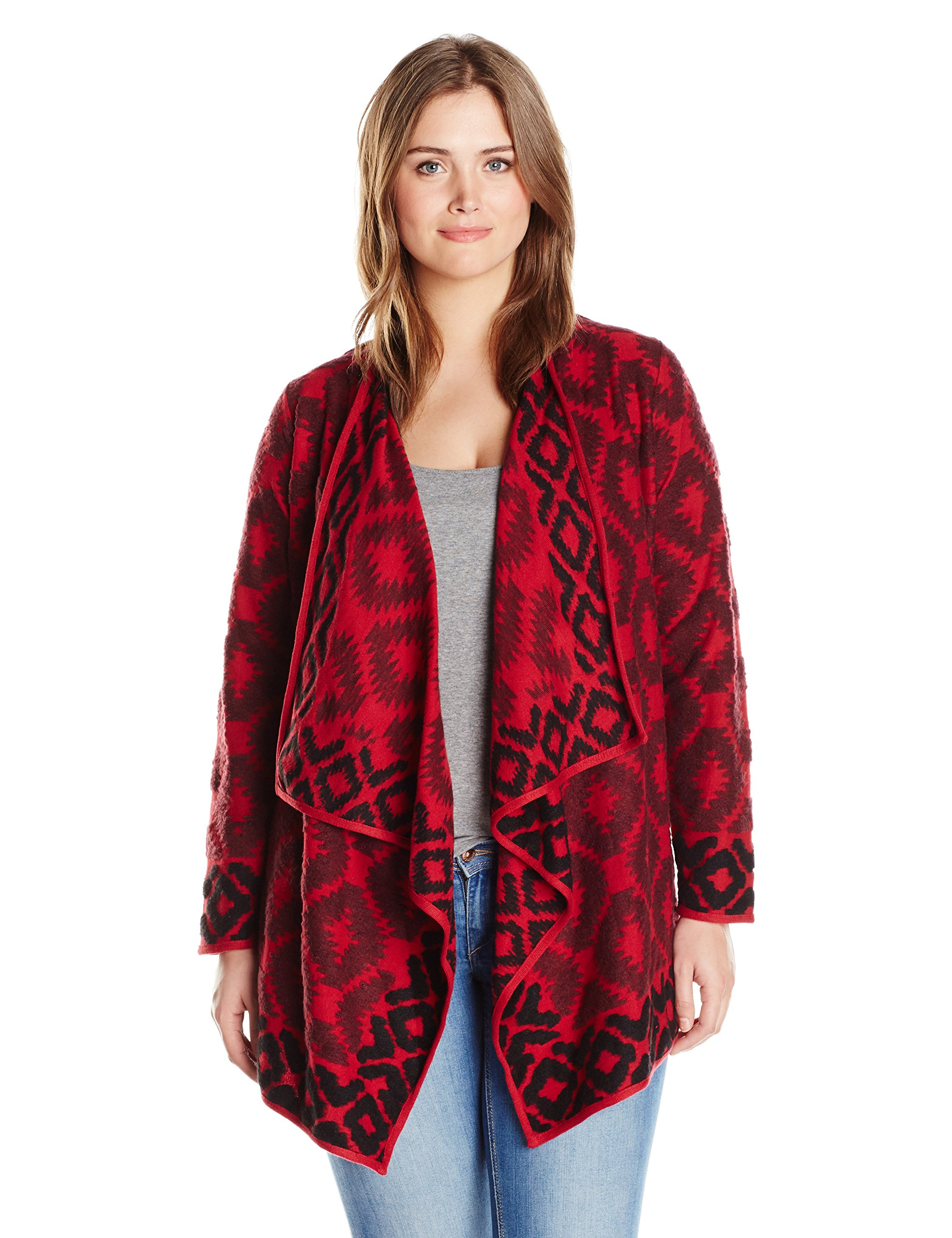 Lucky Brand Women's Plus Size Aztec Wrap Swater, Red/Multi, 2X