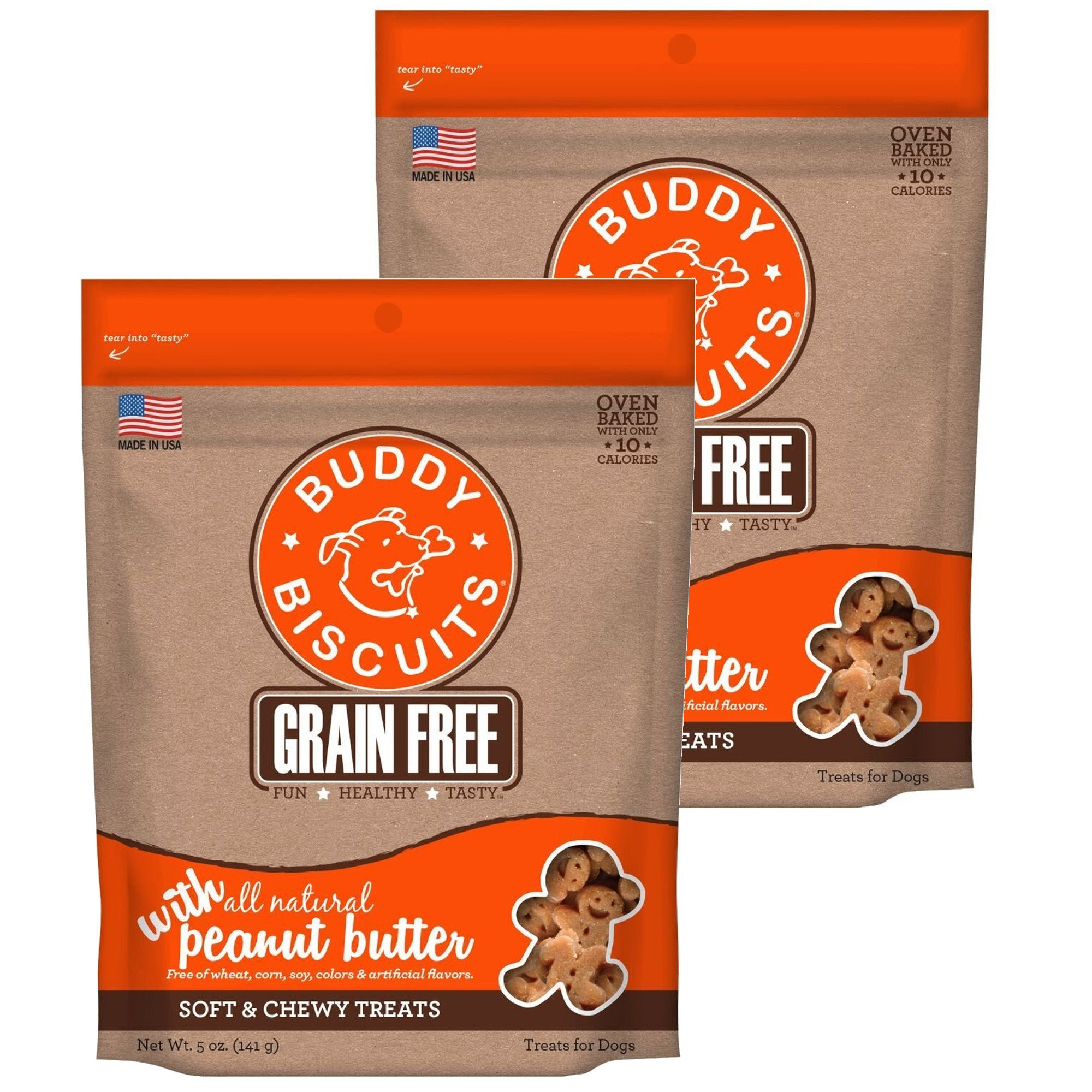 Cloud Star Buddy Biscuits Grain Free Soft & Chewy Dog Treats with All Natural Peanut Butter (2 Pack) 5 oz Each