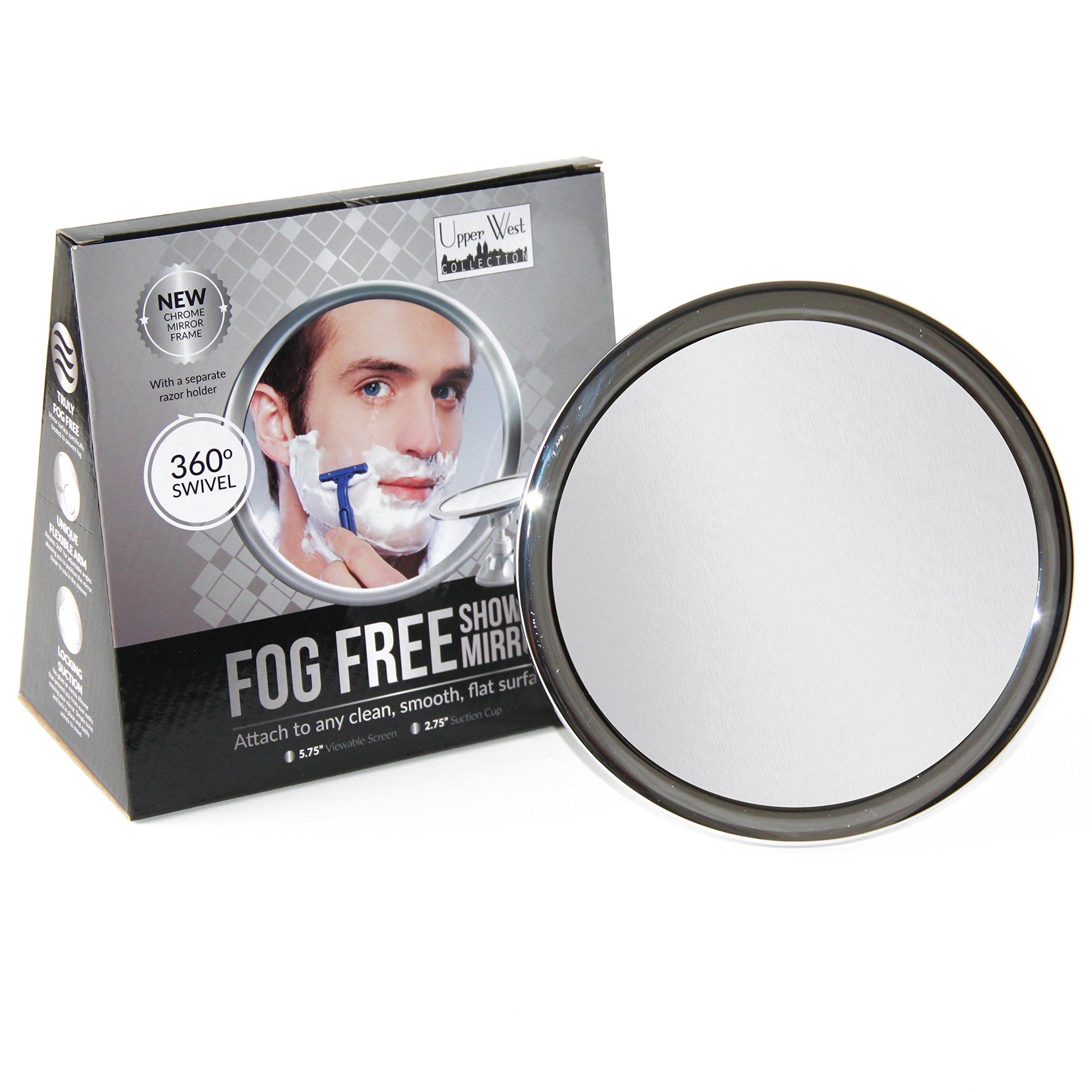 Upper West Collection No Fog Shower Mirror with Rotating, Locking Suction; Bonus Separate Razor Holder   Adjustable Arm for Easy Positioning   Best Personal Mirror for Shaving Available   The by Upper West Collection (Image #2)