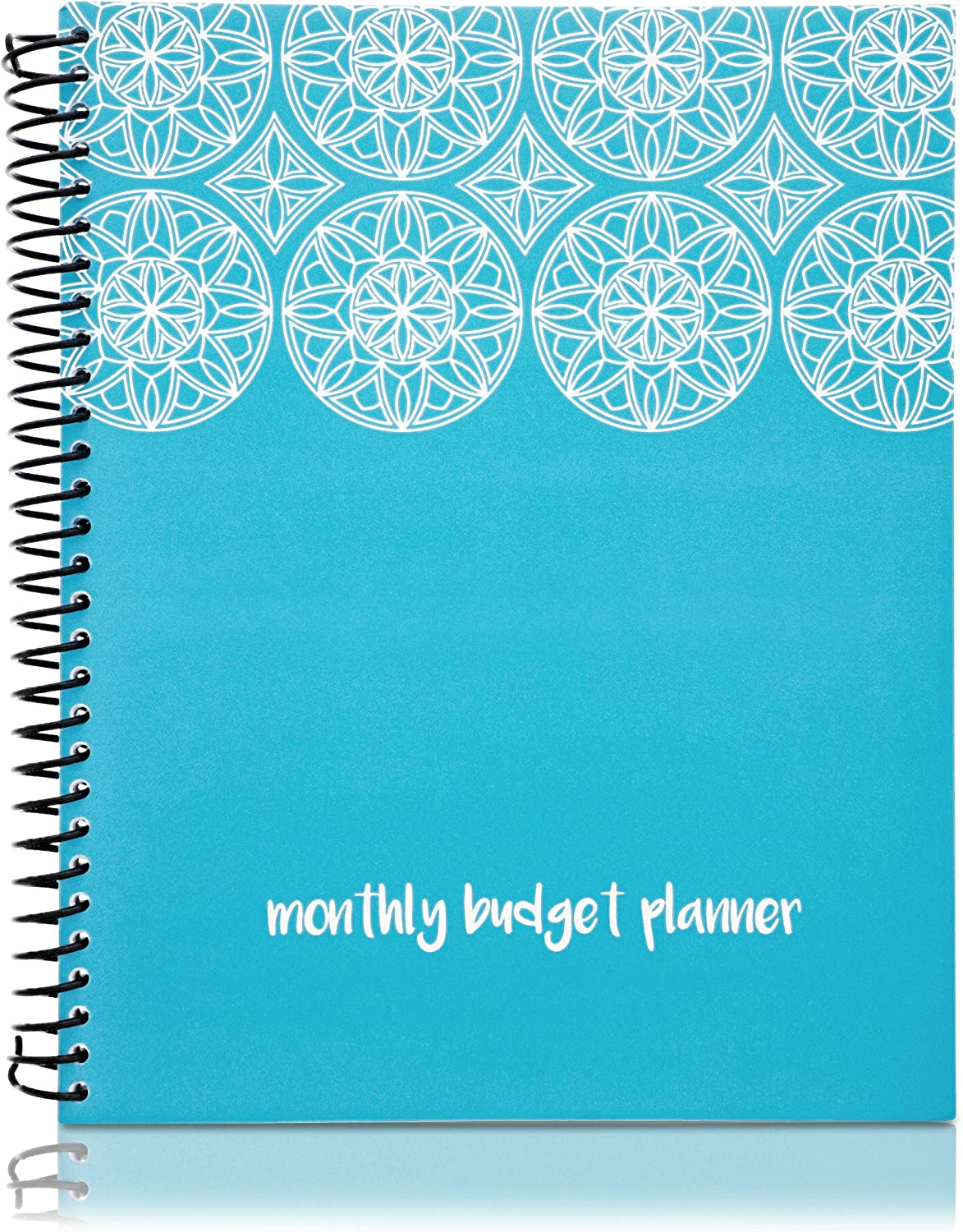 "Monthly Budget Book, Financial Planner Organizer Expense Tracker with 24 Pockets for Receipts & Bills, Blue 8"" x 10"" Perfect for Household, Personal Money Control, by Paper Junkie"
