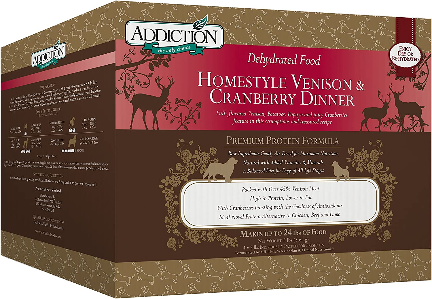 Addiction Homestyle Venison & Cranberry Filler Free Dehydrated Dog Food, 8 Lb.