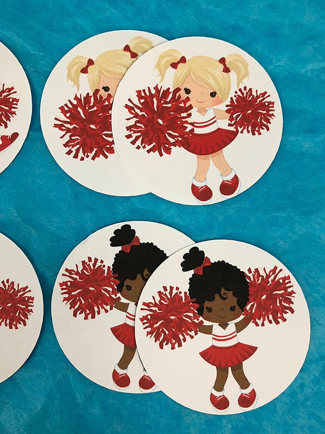 Cheerleaders New Round Stickers Cupcake Toppers Decorations