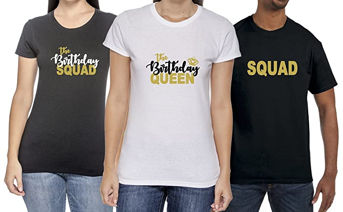 342dc33ec Image Unavailable. Image not available for. Color: The Birthday Queen -  Squad Crew Party Shirts Handmade Adults Unisex Man & Women