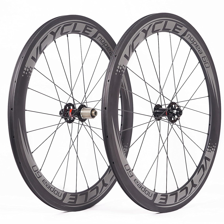 vcycle nopea 700 Cカーボンレーシングロードバイクホイールセット60 mmクリンチャーディスクブレーキ幅23 mmのみ使用の車軸ハブUDマット B075N4D4Z7