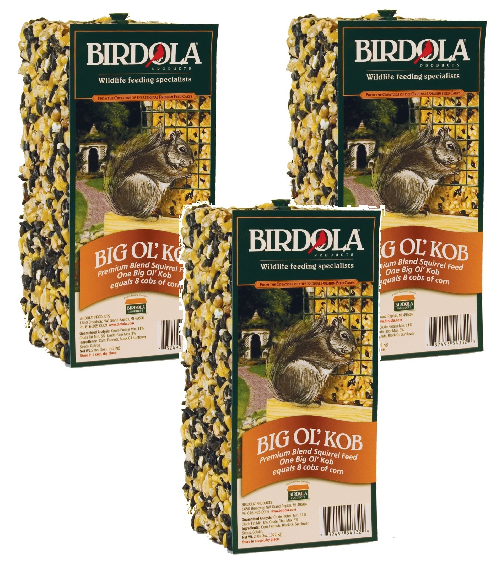Birdola (3 Pack) Big Ol KOB Squirrel Food, 2 Pounds Each by Birdola