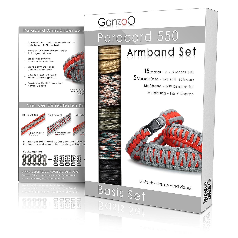 Ganzoo® paracord 550 Bracelet set, detailed knotting instructions, 5 ...