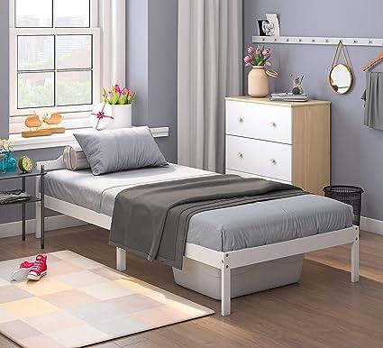 Cama individual de 3 pies, marcos de cama de madera maciza, fuerte somier, habitación de repuesto, muebles de dormitorio, ideal para niños, ...