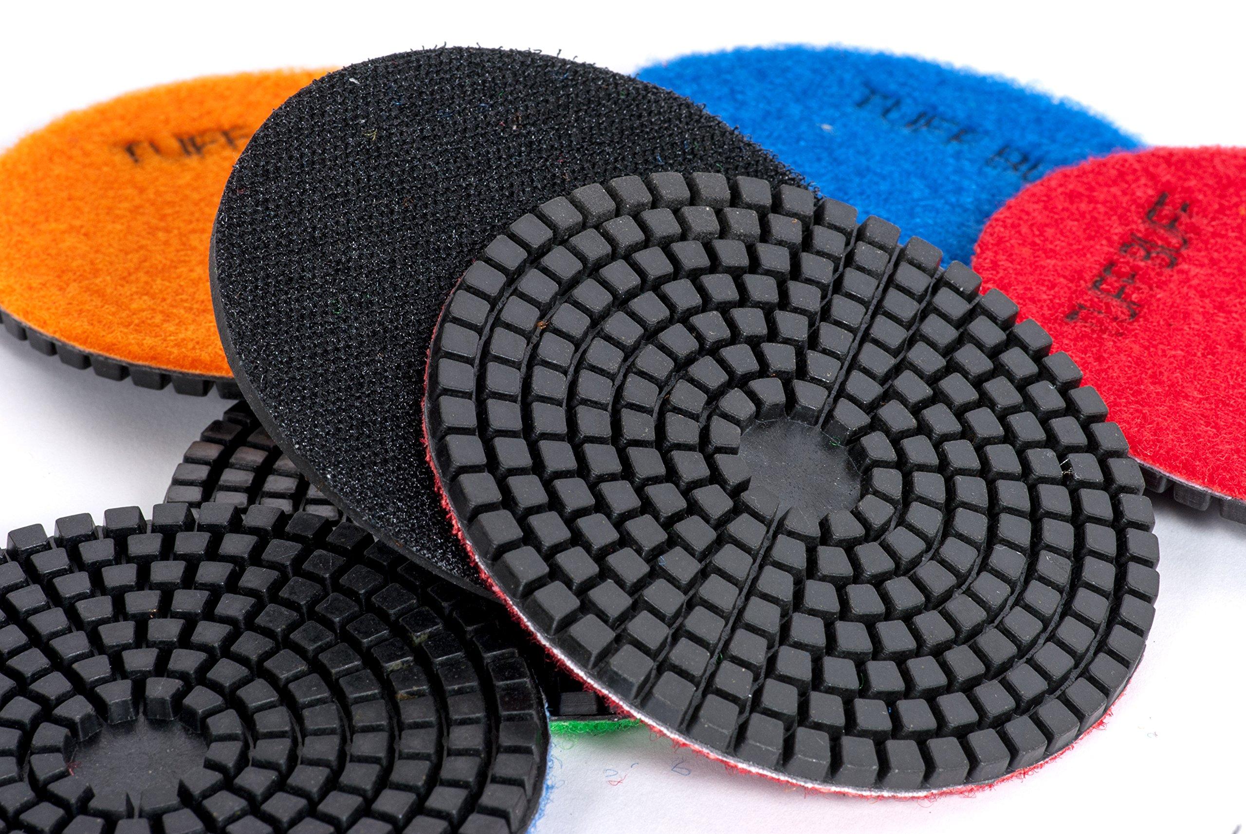 TUFF BUFF - Wet/Dry Diamond Polishing Pads - 11 Piece Set with Rubber Backer for Granite, Stone, Concrete, Marble, Travertine, Terrazzo- 4'' Inch Pads by Tuff Buff (Image #5)