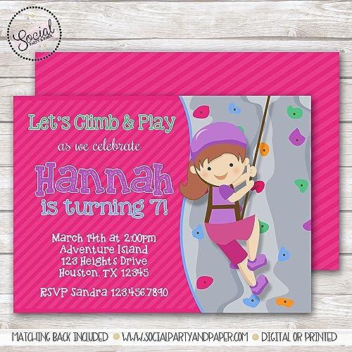 Amazon rock climbing girl birthday party invitation handmade rock climbing girl birthday party invitation filmwisefo