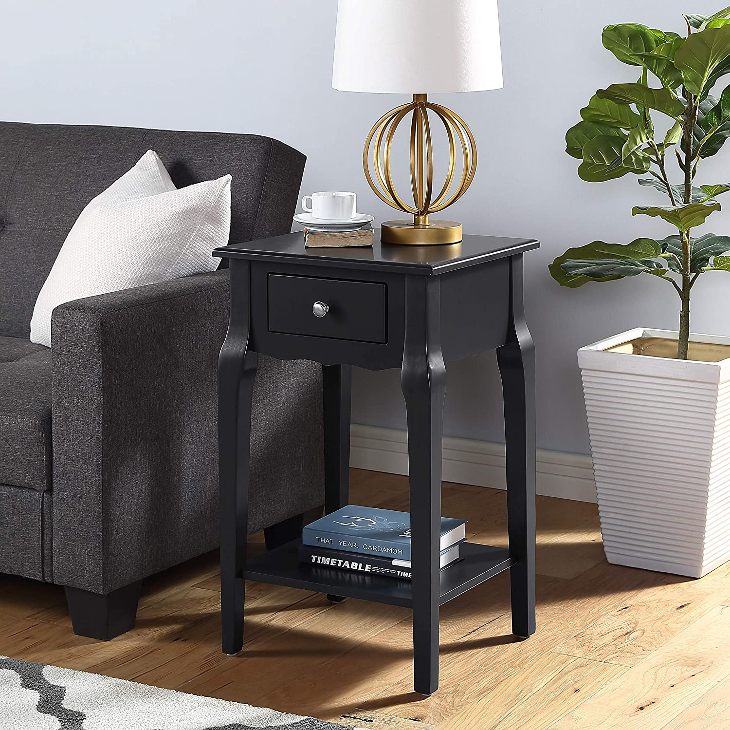 Roundhill Furniture Buren Wood End Table with Drawer, Black