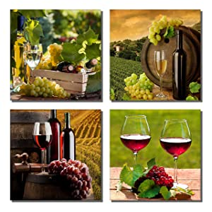 """789Art – Grapes Wine Canvas Wall Art Abstract Wine Cup And Bottle Modern Decorative Painting Artwork Still Life Pictures Wall Decorations For Dining Room Kitchen Home Decor(12""""x 12""""x 4 Panels Framed)"""