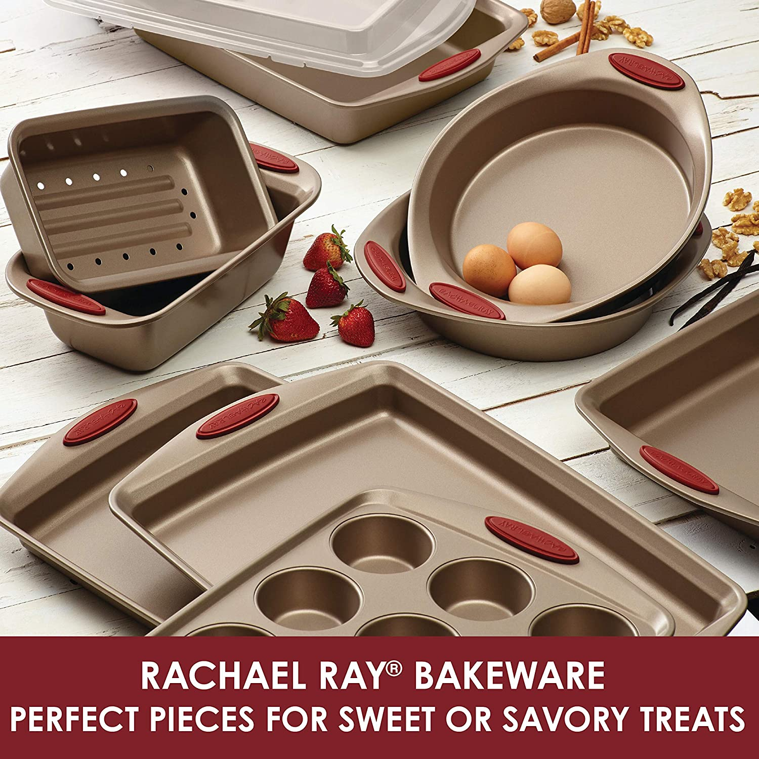 Cranberry Red Handle Grips Rachael Ray Cucina Nonstick Bakeware 24-Cup Bite-Size Baker Latte Brown