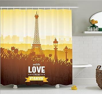 Paris Décor Rideau de douche Ensemble par Ambesonne, tour Eiffel ...
