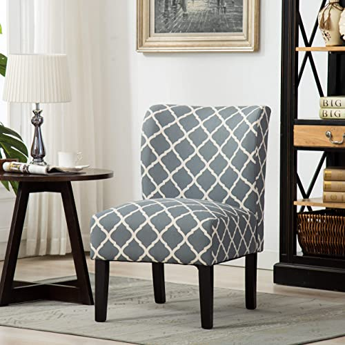 Roundhill Furniture Capa Print Fabric Armless Contemporary Accent Chair, Grid