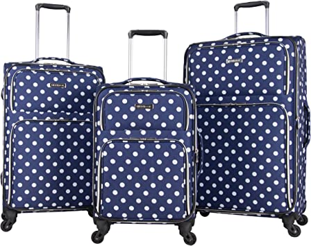 Blue Lightweight Wheeled Briefcase 24-Inch Solid Pattern Polyester Spinner