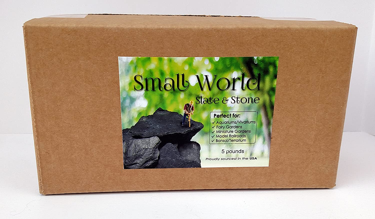 Natural Slate Stone 3 to 5 inch Rocks for Miniature and Fairy Garden Aquascaping Aquariums Reptile enclosures /& Model Railroad. 5lbs