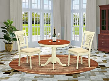 ANPL3-WHI-C 3 Pc Kitchen nook Dining set-round Table plus 2 Chairs for  Dining room