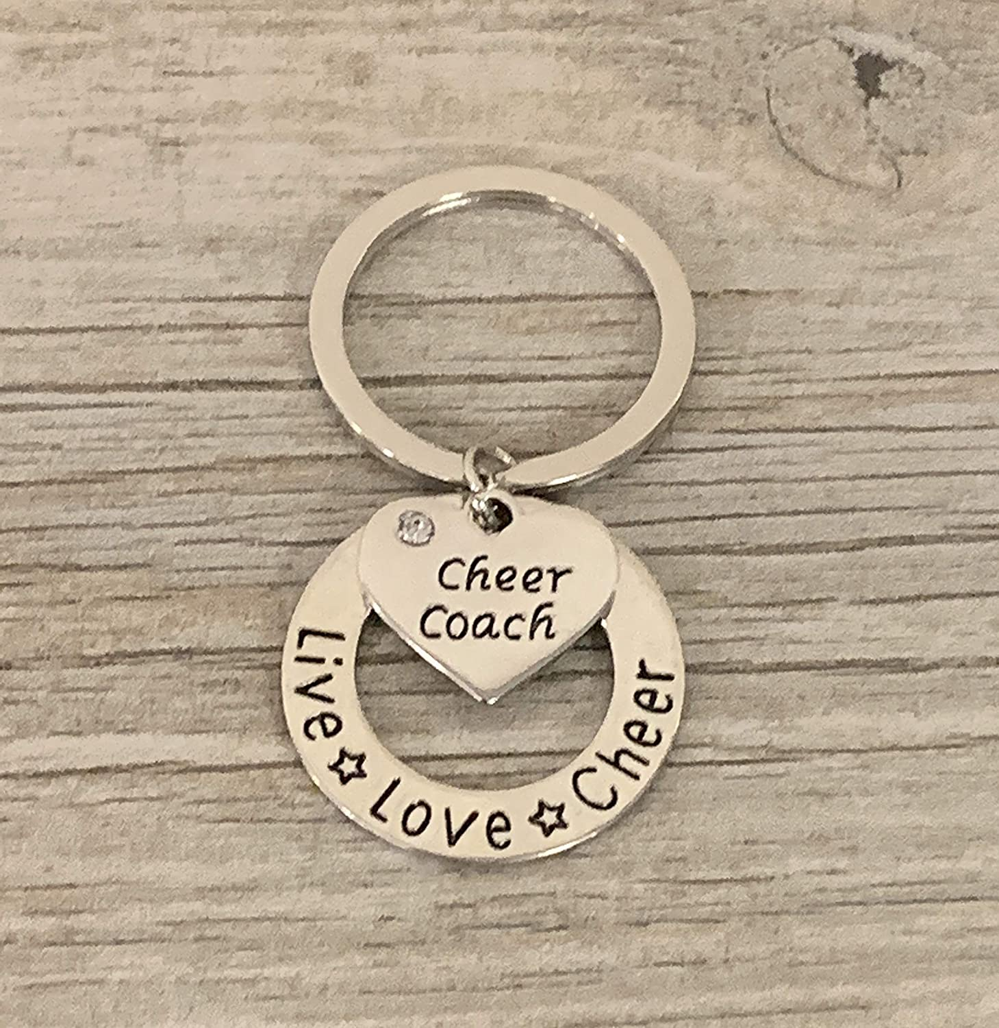 Cheerleading Coach Keychain Sportybella Cheer Coach Gift Live Love Cheer Jewelry for Cheerleader Coaches