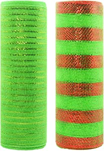 Acekit Deco Poly Mesh Ribbon with Metallic Foil 10 inch x 30 feet Each Roll for Wreaths, Swags Bows Wrapping and Decorating Projects-Light Green+Green with red foil