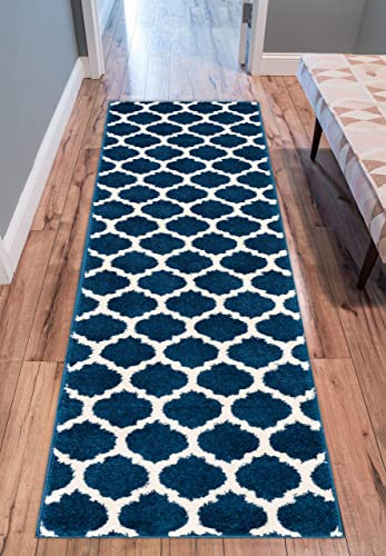 Well Woven Tinsley Trellis Dark Blue Ivory Moroccan Lattice Modern Geometric Pattern 2 x 7 3 Runner Area Rug Soft Shed Free Easy to Clean Stain Resistant
