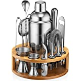 Mixology Bartender Kit: 15-Piece Bar Set Cocktail Shaker Set with Stylish Bamboo Stand   Perfect for Home Bar Tools Bartender