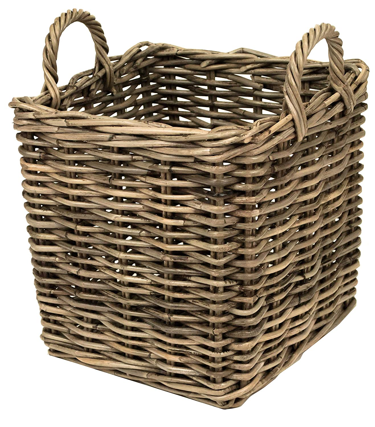 east2eden Grey Kubu Rattan Wicker Strong Square Storage Display Kindling Log Basket (Small) e2e