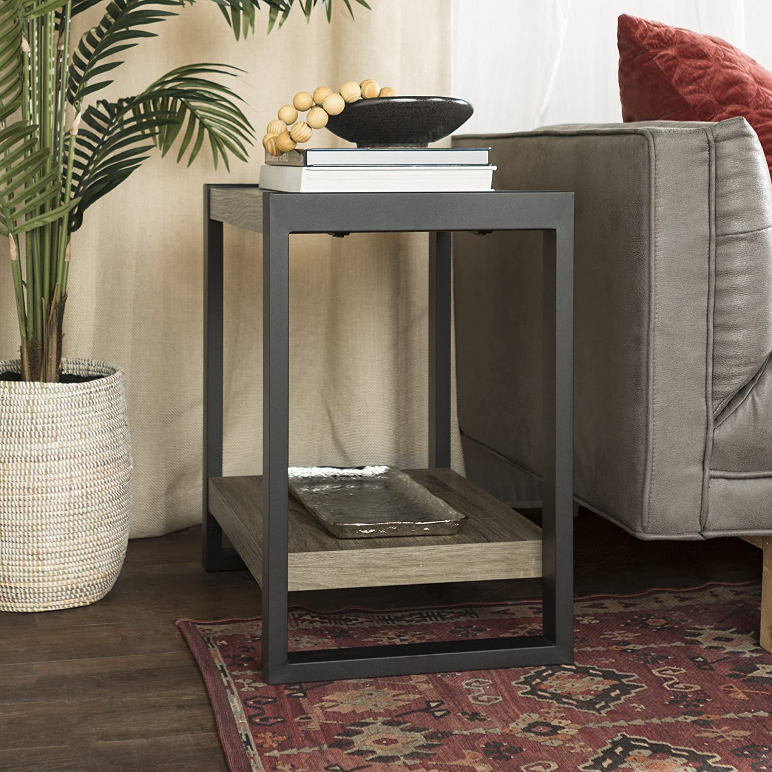 "WE Furniture 24"" Industrial Side/End Table -Driftwood"