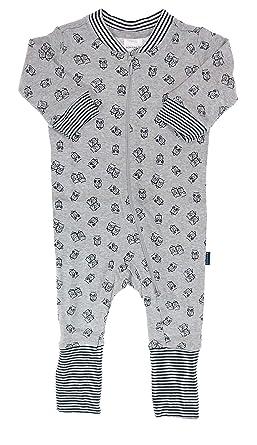 5e0eefa8bf Schiesser Jungen Baby Schlafanzug Eule Gr. 56 - Einteiler mit Variofuß,  grau, lang