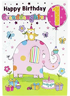 Happy 1st Birthday Girl Greeting Card To Granddaughter Pink Baby Luxury Age Kids
