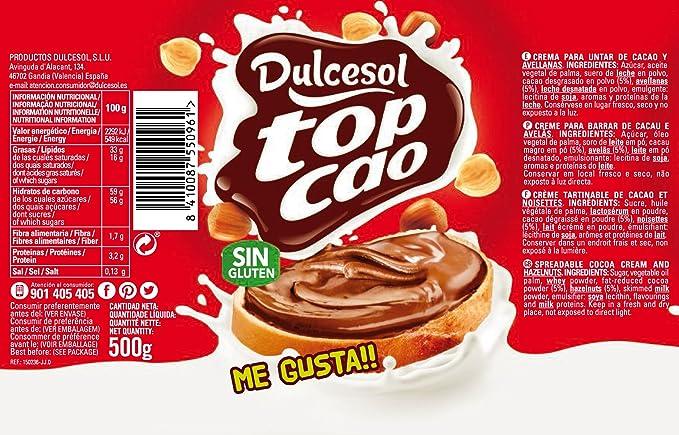 Top Cao Crema de Cacao y Avellanas - 500 g: Amazon.es: Alimentación y bebidas