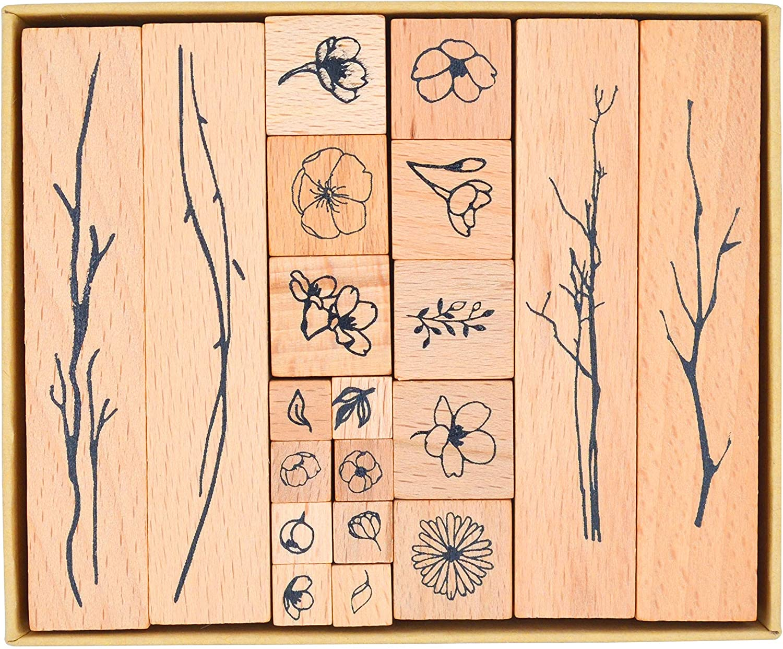 Sakura Petal M-24 Cliocoo 6pcs Wood Rubber Stamp Set,Cherry Blossom