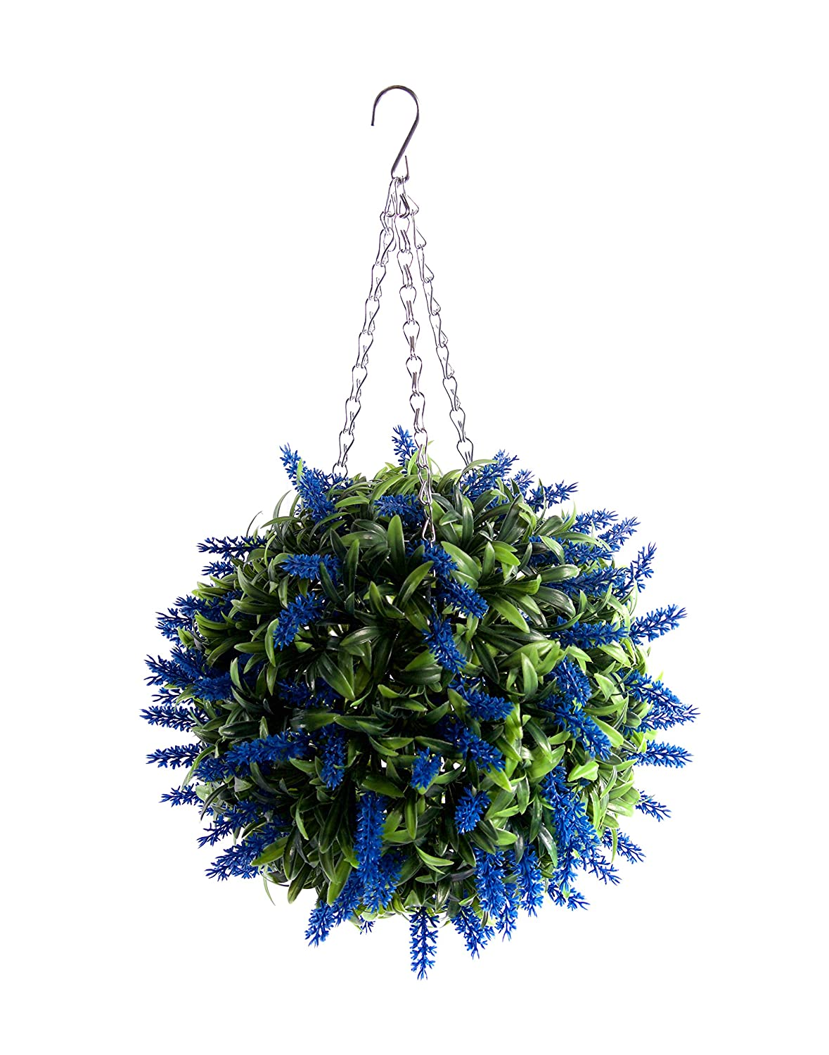 Best Artificial Blue Lavender Lush Long Leaf Flower Topiary Ball (30cm)