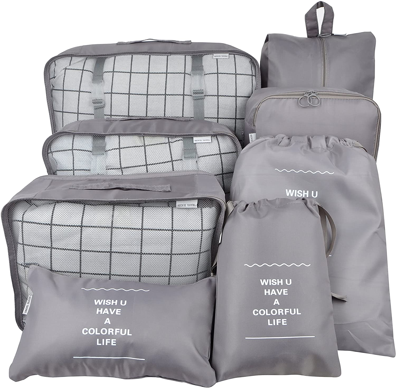 Vercord 8 Set Travel Packing Pods Luggage Organizers Cubes with Laundry Bags Accessories, Grey