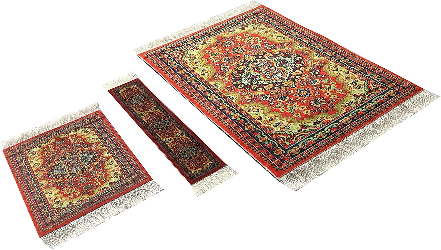 Set of Rug Mouse Pad + Coaster + Bookmark - Oriental Style Carpet Mousemat Miniature Rug (Blue)