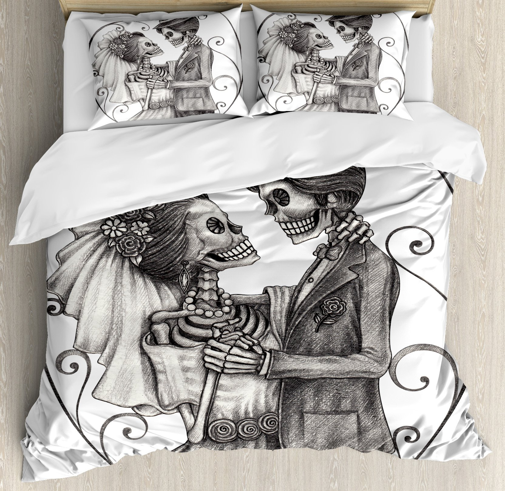 Ambesonne Day of The Dead Decor Duvet Cover Set, Love Valentine's Skull Skeleton Marriage Eternal Spanish Festive Art, 3 Piece Bedding Set with Pillow Shams, Queen/Full, Dimgrey and White